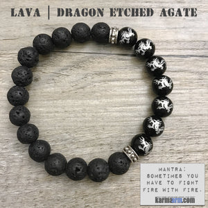 Yoga Bracelets Energy Healing | Men's Womens #GOT | beaded yoga karma mala charm. Law of Attraction. manifest. #LOA. lava black etched dragons.