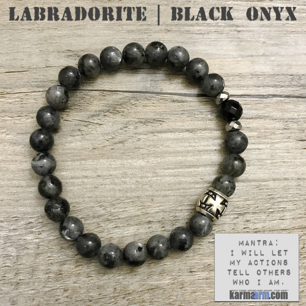 Yoga Bracelets Energy Healing | Men's Womens | beaded yoga karma mala charm. Law of Attraction. manifest. #LOA. Black Labradorite Cross Black Onyx Hematite.
