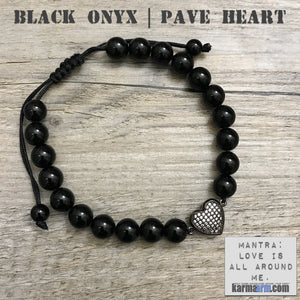 Yoga Bracelets Energy Healing | Men's Womens | beaded yoga karma mala charm. Law of Attraction. manifest. #LOA Black Onyx Pave Heart.