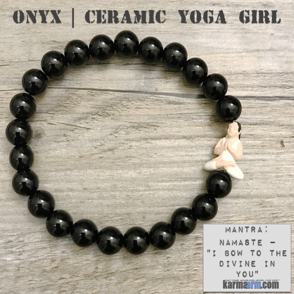Yoga Bracelets Energy Healing | Men's Womens | beaded yoga karma mala charm. Law of Attraction. manifest. #LOA Black Onyx Yoga Girl Namaste.