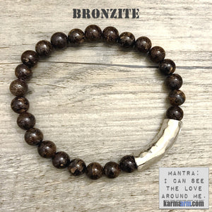 Yoga Bracelets Energy Healing | Men's Womens | beaded yoga karma mala charm. Law of Attraction. manifest. #LOA Bronzite.
