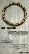 Yoga Bracelets. SkullS Tigers Eye. Beaded Yoga. Handmade Bracelets. Law of Attraction #LOA | Charm Mala I Meditation & Mantra I Spiritual.