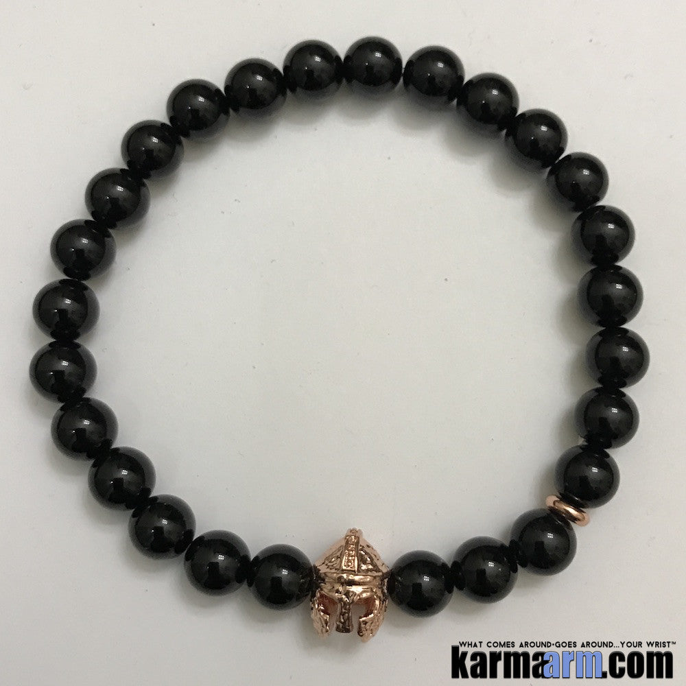 Yoga Bracelets LOA Manifesting Meditation Tibetan Buddhist Beaded Mala Men & Women. #LOA Law of Attraction. Energy Healing. Black Onyx Rose Gold Helmet.