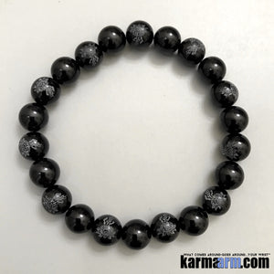 Yoga Bracelets. Manifesting Meditation Tibetan Buddhist Beaded Mala Men & Women.. Onyx Lotus Buddha.