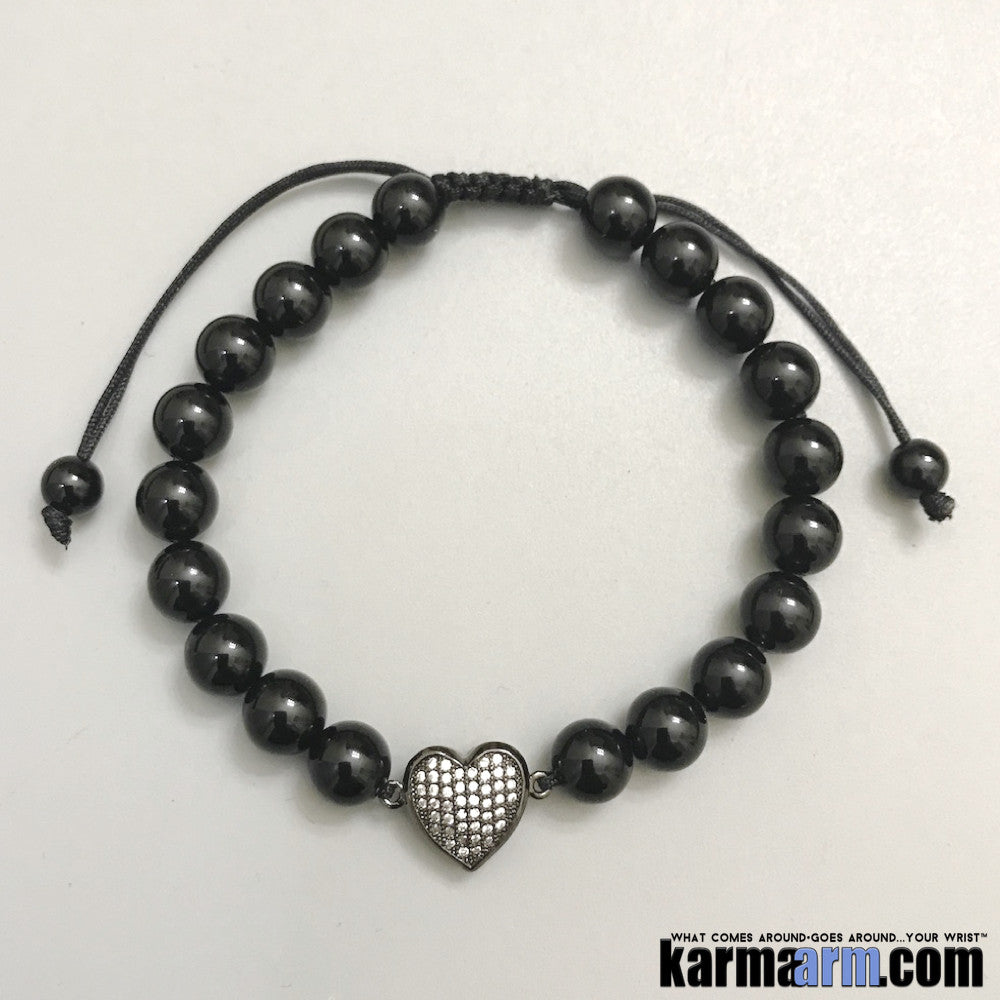 Yoga Bracelets Manifesting Meditation Tibetan Buddhist Beaded Mala Men & Women. #LOA Law of Attraction. Energy Healing. Black Onyx Pave Heart.