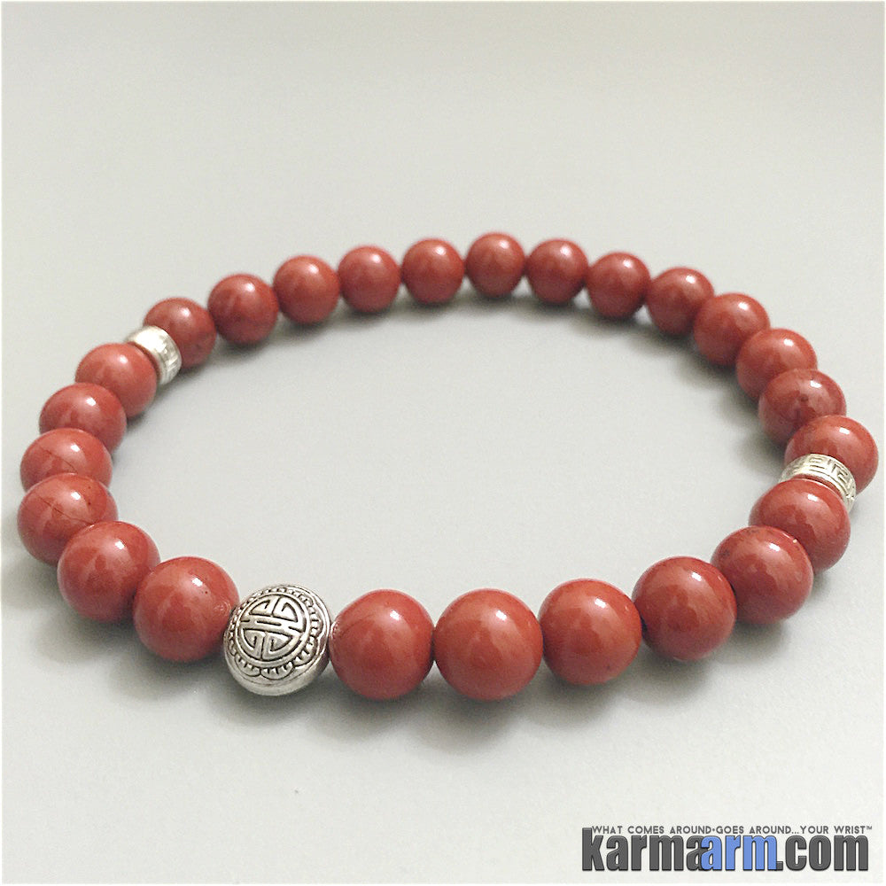 Yoga Bracelets Manifesting Meditation Tibetan Buddhist Beaded Mala Men & Women. #LOA Law of Attraction. Red Jasper Prosperity.