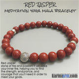 Yoga Bracelets MeditationTibetan Buddhist Beaded Mala Men & Women. Red Jasper Prosperity.