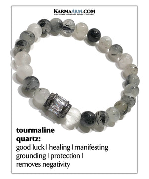 Yoga Bracelets Meditation Mantra . Self-Care Wellness Wristband Tourmaline Quartz.