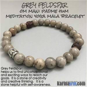 Yoga Bracelets Meditation Tibetan Buddhist Beaded Mala Men & Women. Grey Feldspar Buddha Head.