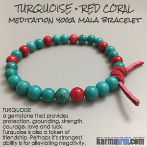 Yoga Bracelets Meditation Tibetan Buddhist Beaded Mala Men & Women. Red Coral Turquoise.