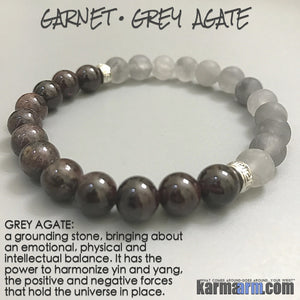 Yoga Bracelets Meditation Tibetan Buddhist Beaded Mala Men & Women. karma arm. Grey Agate Garnet