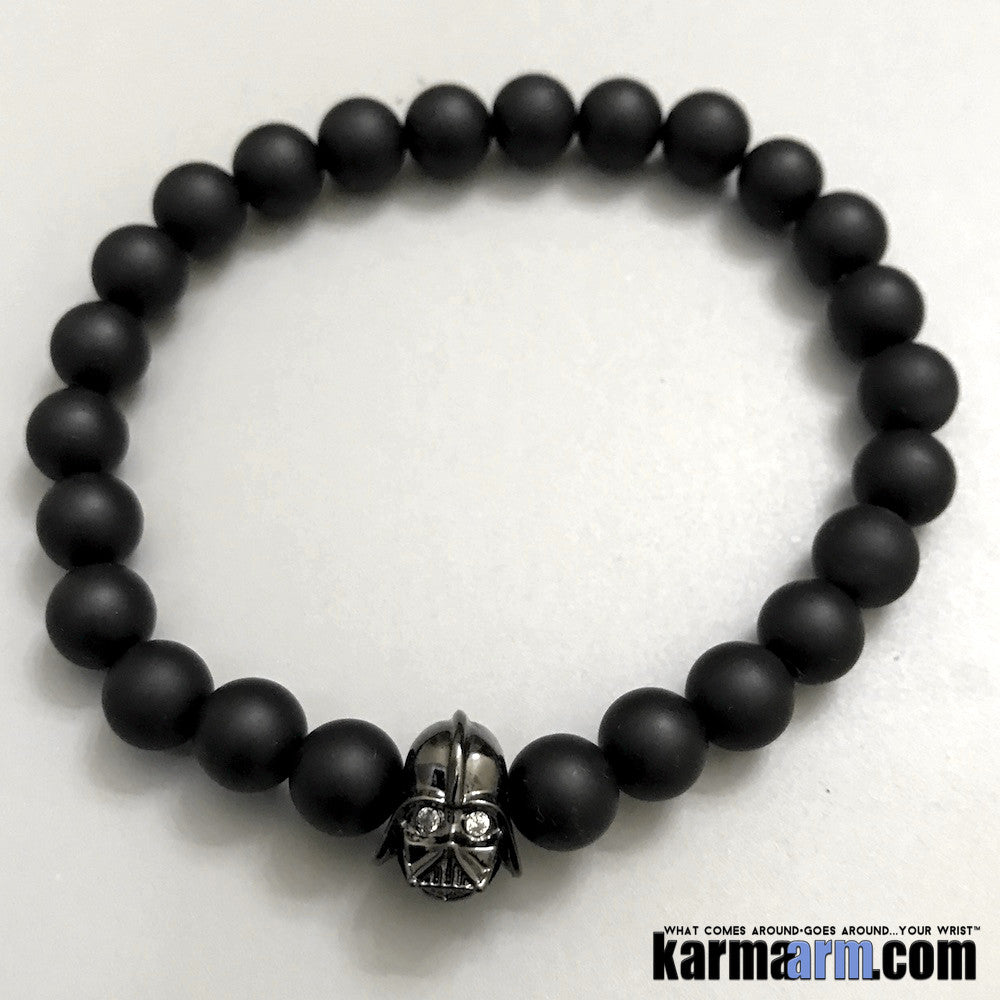 Yoga Bracelets. Star Wars Darth Vader. Men's Women. Healing Energy Prayer Mantra Spiritual Beaded Mala. Matte Black Onyx.