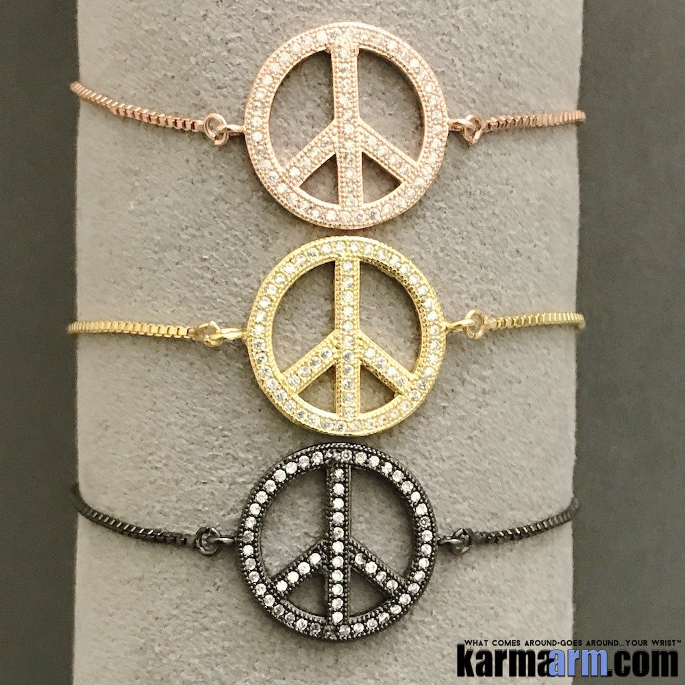 Yoga Bracelets Stretch Meditation Buddhist Mala Bead stretch Bracelet. Chain Peace Signs Gold.