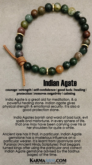 Yoga Chakra Bracelet. Mens Energy Healing Karma Mala Stacks. Reiki Jewelry. Indian Agate.