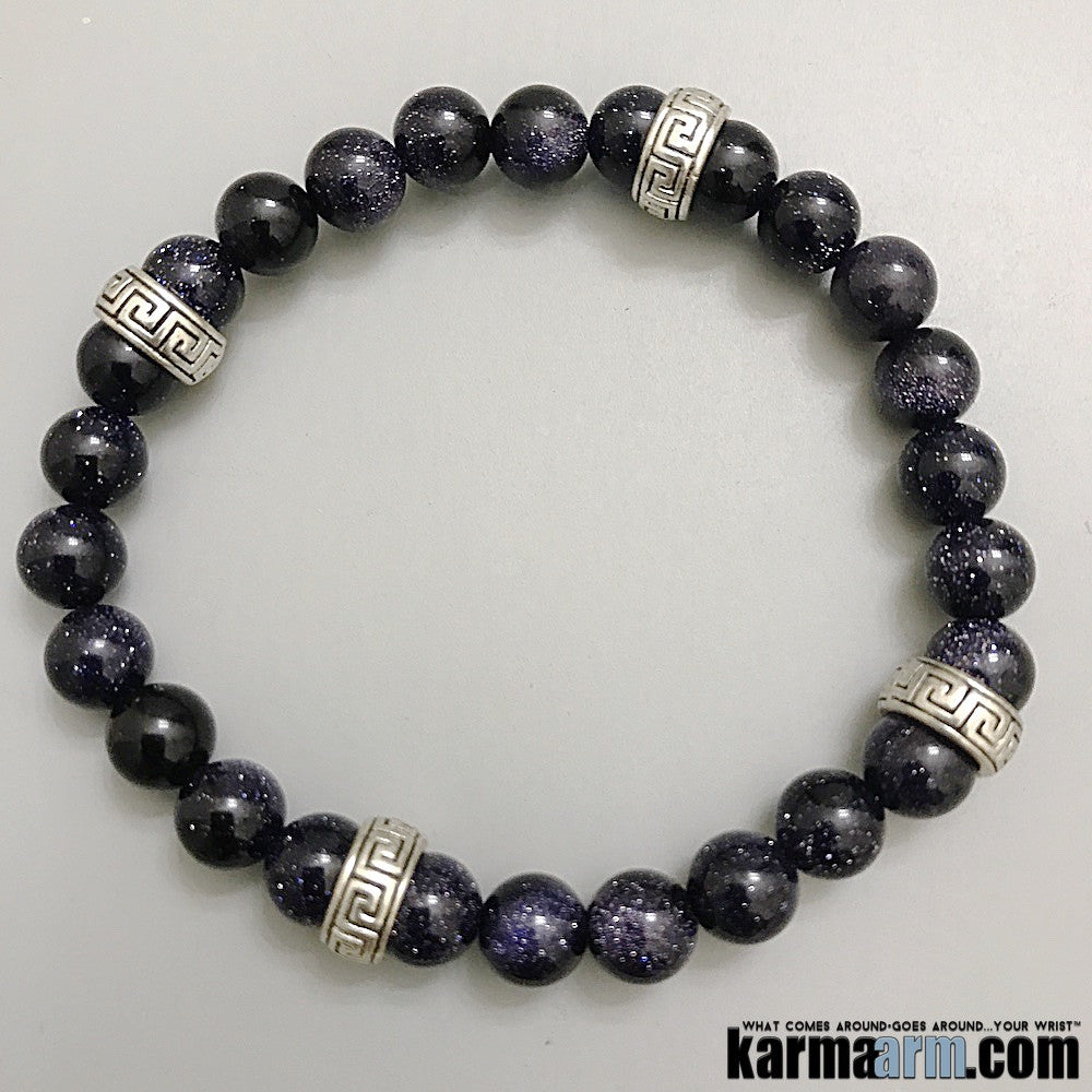 Yoga Chakra Reiki Beaded Stretch Bracelets & Jewelry. Blue Goldstone. Greek Key. Wish.