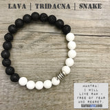 Yoga Charm Bracelets. Energy Healing. Handmade Men's Women's Luxury Beaded Mala & Jewelry. Law of Attraction. Manifest. #LOA. Lava Snake Tridacna.