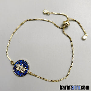 Yoga Charm Bracelets. Lotus Flower Chain.