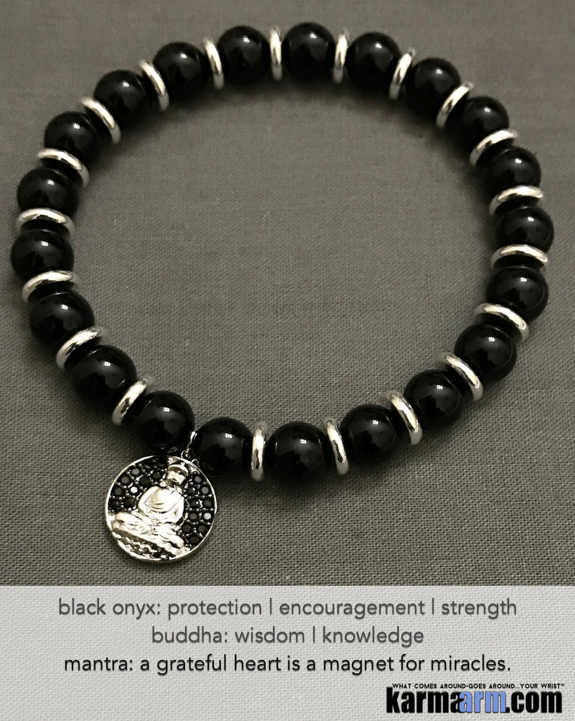 Yoga Charm Bracelets. Men's Women. Luxury Handmade Jewelry. Law of Attraction. LOA. Healing Energy Prayer Mantra Spiritual Mala. Black Onyx Buddha.