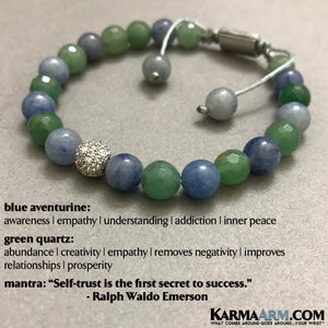 Yoga Jewelry. Beaded Bracelets. Meditation Reiki Healing Jewelry. Mens Bracelets. Green Quartz Blue Aventurine Diamond Pave Bracelets.
