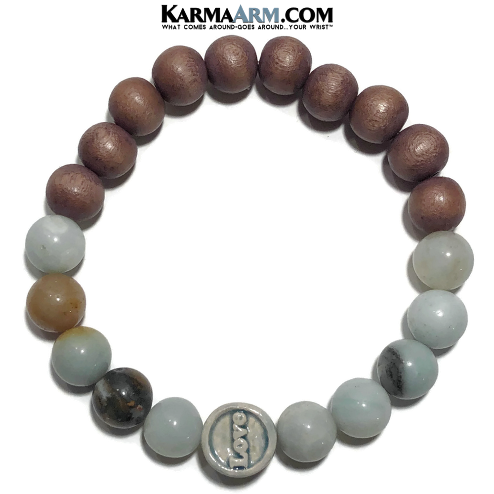 Yoga LOVE Bracelet. Meditation Self-Care Wellness Wristband Zen bead mala Jewelry. Amazonite Wood.