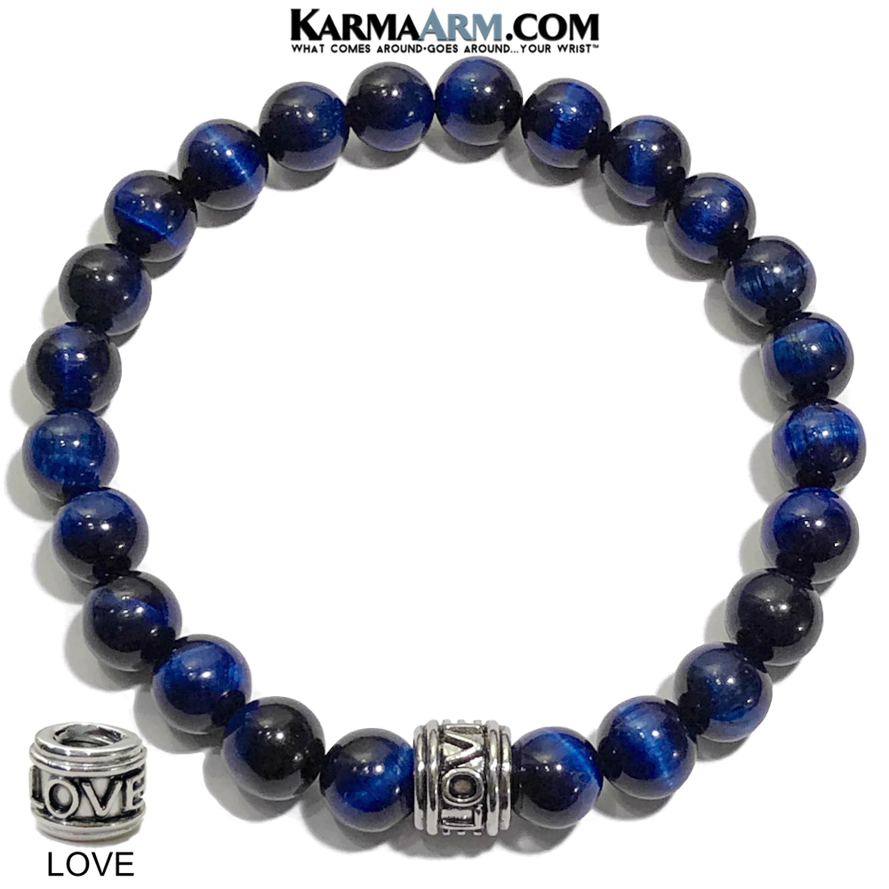 Yoga LOVE Bracelets. Blue Tiger Eye self-Care Wellness beaded mens meditation wristband jewelry.