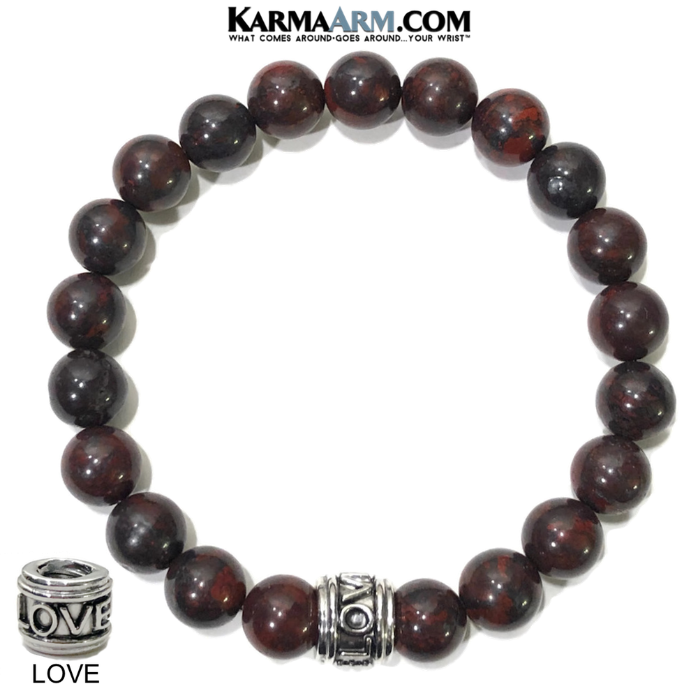 Yoga LOVE Bracelets. self-Care Wellness beaded mens meditation wristband jewelry. Bloodstone.