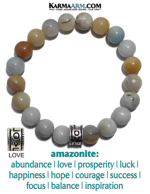 Yoga Love Bracelet. Meditation Self-Care Wellness Wristband Zen bead mala Jewelry. Amazonite 10mm.
