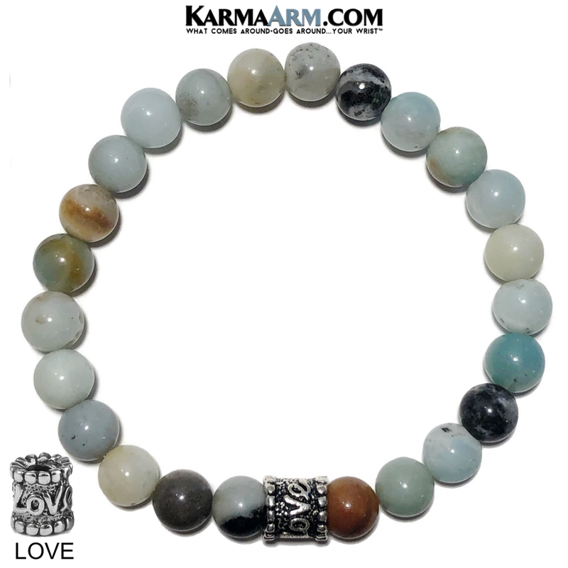 Yoga Love Bracelet. Meditation Self-Care Wellness Wristband Zen bead mala Jewelry. Amazonite 8mm..