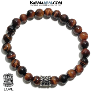 Yoga Love Bracelet. beaded Self-Care Wellness meditation wristband jewelry. Red Tiger Eye.