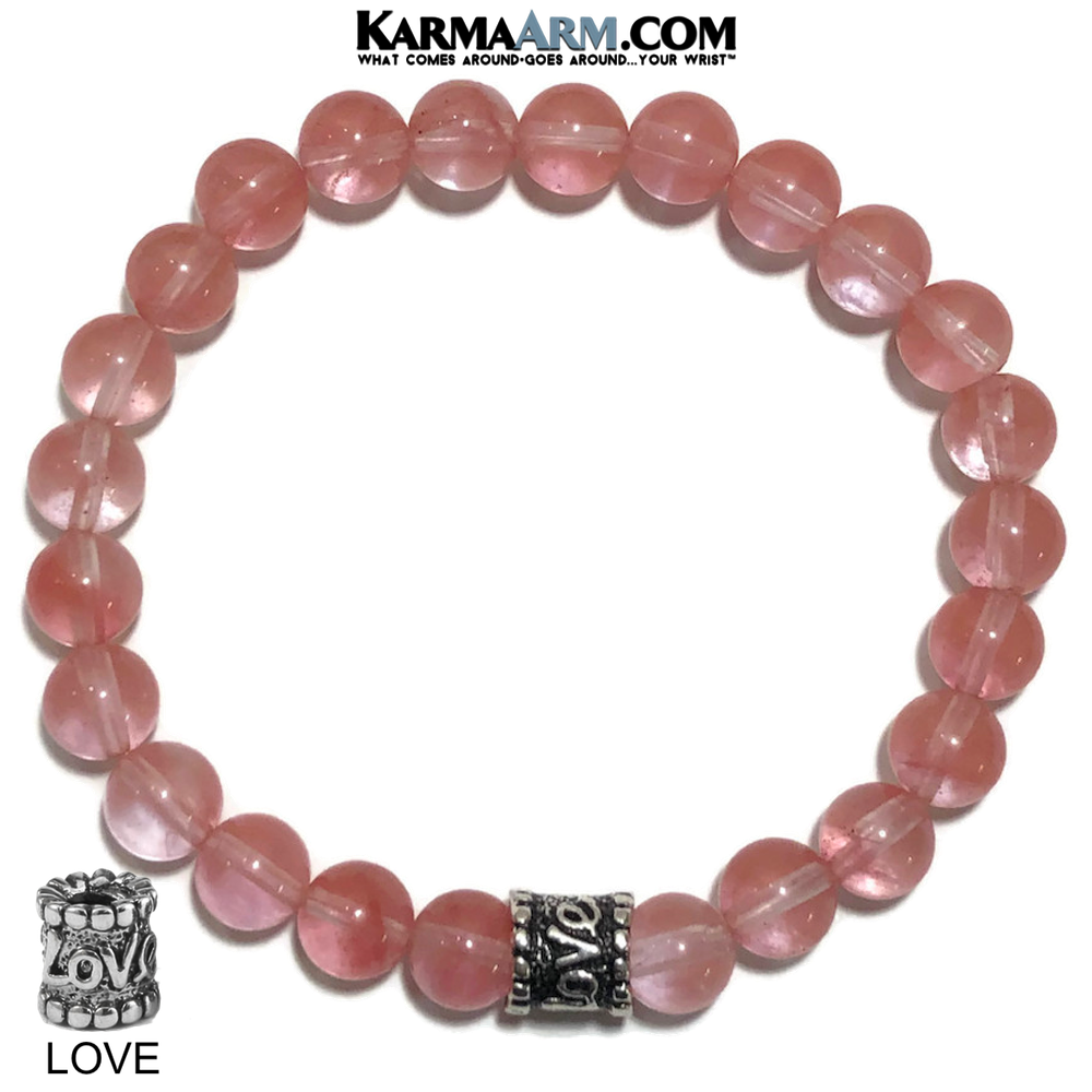 Yoga Love Bracelet. self-care beaded mens meditation wristband jewelry. Strawberry quartz.