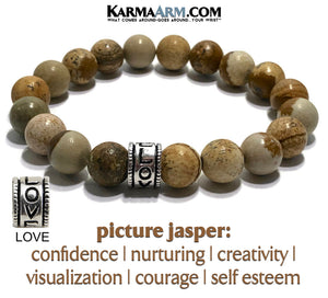 Yoga Love Bracelets. Self-Care Anxiety Jewelry. Meditation Zen Beaded Bracelet. Picture Jasper.