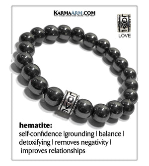 Yoga Love bracelets. Meditation Jewelry Hematite. 10mm. copy