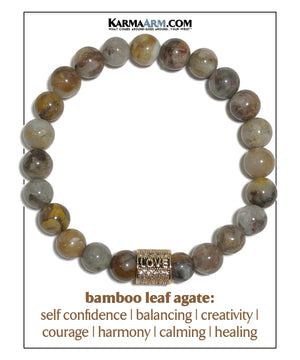 Yoga Love bracelets. mens wristband jewelry. bamboo leaf agate.