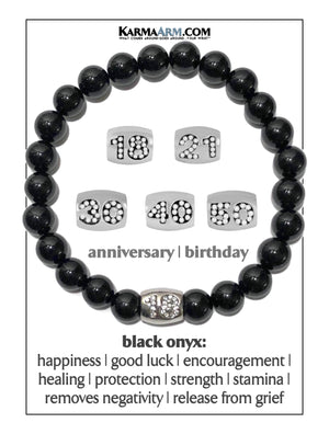 Meditation Mantra Yoga Bracelet. Self-Care Wellness Wristband Zen bead mala Jewelry. 18 19th birthday anniversary black onyx.