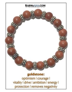 Meditation Mantra Yoga Bracelet. Self-Care Wellness Wristband Zen bead mala Jewelry.  Goldstone.