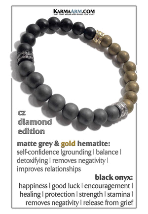 Yoga Meditation bracelets. self-care hematite onyx bead wristband jewelry. Speak your truth.