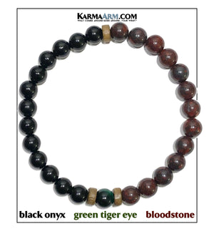Yoga Meditation bracelets. self-care wellness mens bead wristband jewelry. Bloodstone Black Onyx Green Tiger Eye.