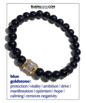 Yoga Meditation bracelets. self-care wellness mens bead wristband jewelry. Blue Goldstone.