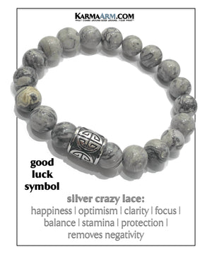Yoga Meditation bracelets. self-care wellness mens bead wristband jewelry. Crazy Lace Success luck Symbol.