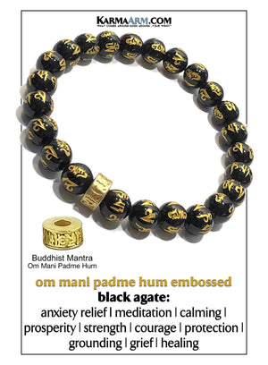 Yoga Meditation bracelets. self-care wellness mens bead wristband jewelry. Om Mani Padme Hum.