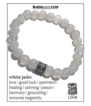 Yoga Meditation bracelets. self-care wellness mens bead wristband jewelry. White Jade Love. 8mm .