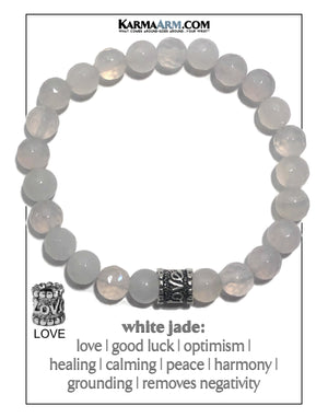 Meditation Yoga bracelets. self-care wellness mens bead wristband jewelry. White Jade Love. 8mm.