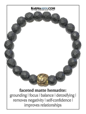 Meditation Mantra Yoga Bracelet. Self-Care Wellness Wristband Zen bead mala Jewelry.  Floral Hematite.