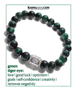 Yoga Meditation bracelets. self-care wellness mens bead wristband jewelry. green tiger eye Barrel.