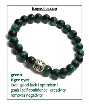 Yoga Meditation bracelets. self-care wellness mens bead wristband jewelry. green tiger eye gothic cross.