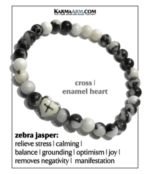 Yoga Meditation bracelets. self-care wellness mens bead wristband jewelry. zebra jasper Cross.