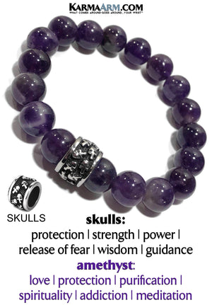 Yoga Skull Bracelets. Anxiety Addiction mens meditation wristband jewelry. Amethyst.