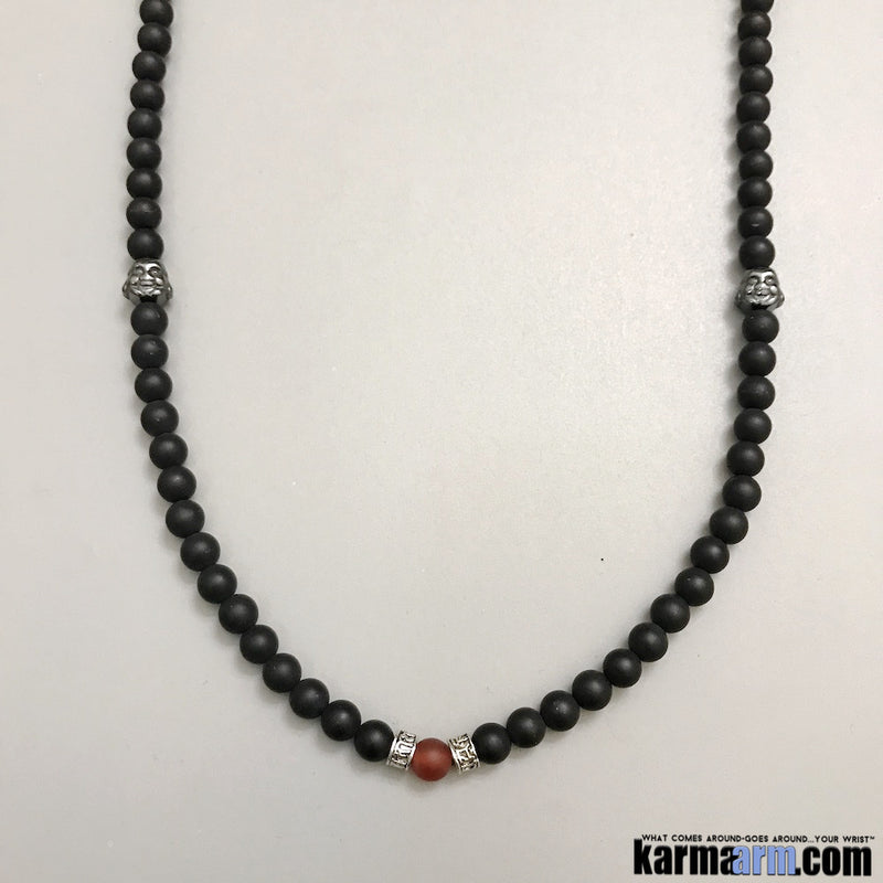 Yoga Wrap Necklace. Men's Women. Manifestation Beaded Prayer Mantra Spiritual Mala. Law of Attraction. #LOA Energy Healing. Hematite Buddha Black Onyx Om Mani Padme Hum Red Agate.