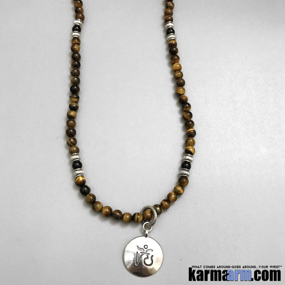 Yoga Wrap Necklaces Bracelets. Men's Women. Manifestation Beaded Prayer Mantra Spiritual Mala. Law of Attraction. #LOA Energy Healing. Tiger Eye OM Black Onyx.