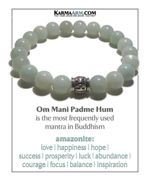 Meditation Mantra Yoga Bracelet. Meditation Self-Care Wellness Wristband Zen bead mala Jewelry. Blue Amazonite.